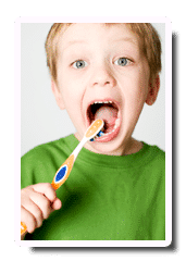 Boy with toothbrush
